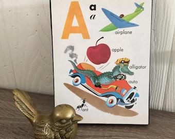 Vintage Children's Book Art Block - Nursery Decor - Vintage Illustration - Letter A