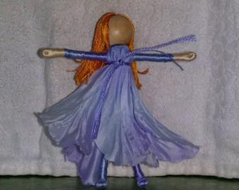 Morning Glory Flower Art Doll - Purple flower fairy - pixie- elf - Waldorf  fairy Doll