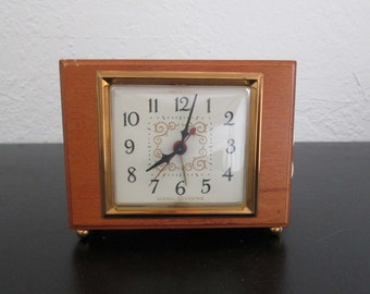 Vintage Electric Alarm Clock GE General Electric Mid Century Fruitwood Finish Wood w/ Original Sale Receipt
