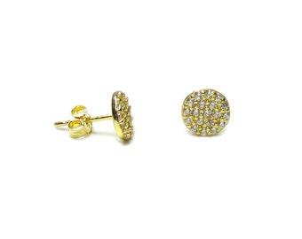 CZ Pave Disc Stud Earrings in Sterling Silver or Gold Vermeil