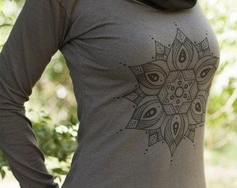 Females Hemp and Organic Cotton Cowl Neck Long Sleeve - Arc Mandala