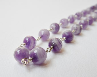 Chevron Amethyst Necklace - Sterling Silver Beaded Rosary Necklace Beadwork Necklace Faceted Beads