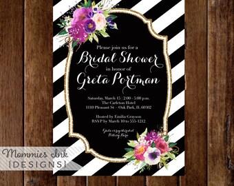 Purple Floral Bouquets Bridal Shower Invitation, Black and White Stripes Bridal Shower Invitation, Purple Flowers, Printable Invitation