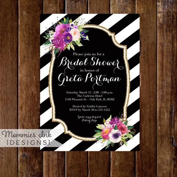 Purple floral bouquets bridal shower invitation black and for Black and white bridal shower invitations