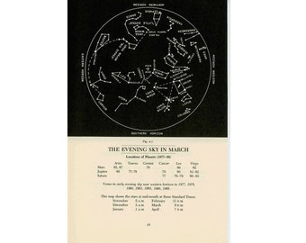 c.1977 MARCH STAR MAP - celestial zodiac constellation print - vintage astronomy print - evening sky chart - showing planets & asterisms