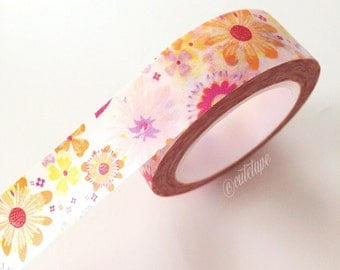 Sunshine Flower washi tape Orange Purple Pink Floral Washi Tape planner sticker tape