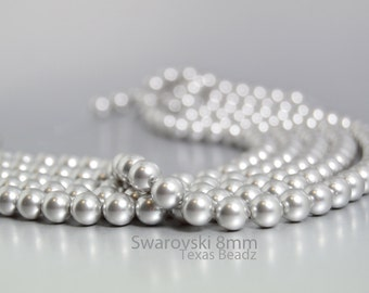 Swarovski Pearls, Light Grey Pearls in 8mm Round Pearl Beads, 50 Pcs Crystal Glass Pearls, Gray Pearls Elements 5810