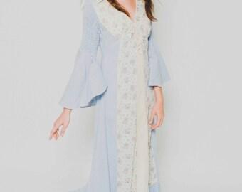 Vtg 70s Stunning Jean Denim Prairie Lace Up Corset Flower Boho Hippie Angel Sleeve Blue White Maxi Dress S/M