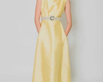 Vtg 50s 60s Gorg Neiman Marcus Mod Prom Belt Rhinestone Yellow Shantung Silk Pockets Classic Floor Length Dress S