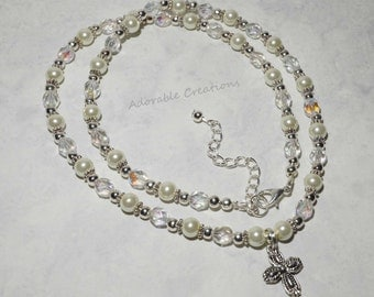 White Pearl & Crystal Cross Necklace - Child And Adult Sizes Available