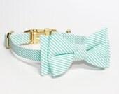 Adjustable Mint Seersucker Girl Dog Collar with Bow- Girly Dog Collar- Mint Green Dog Collar with Gold Tone Hardware