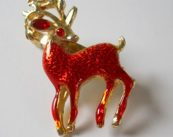 Vintage Deer Stag Buck Brooch • Vintage Animal Deer Pin