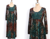 Vintage 1970s Dress / 70s Tie Dye Indian Maxi Dress / Blue Green (M L)