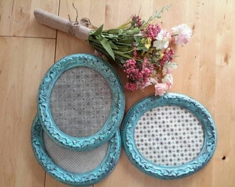 Vintage Turquoise  Blue hand painted picture frames Set of three oval round frames