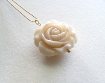 Ivory rose pendant necklace on 14k gold plate chain, vintage-inspired resin rose