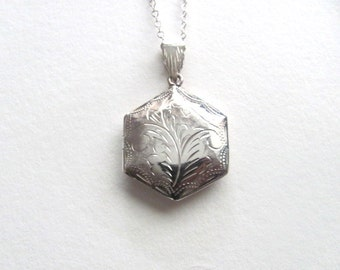 Gorgeous sterling silver engraved vintage geometric hexagon locket necklace, puffy locket, vintage wedding jewelry