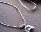 Vintage Sterling Silver Pendant - Delicate Liquid Silver Shell Necklace
