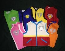 Paw Patrol costume vests, Halloween, birthdays or everyday wear