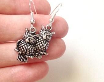 Owl Earrings, Simple Silver Dangles