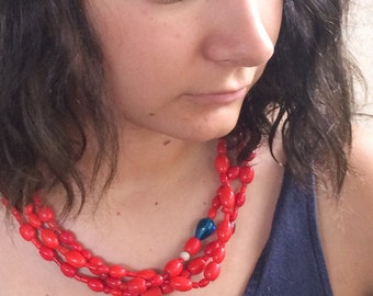Antique glass trade bead necklace from Ecuador with three strands, vintage tribal jewelry, boho jewelry, red necklace, Ecuador necklace