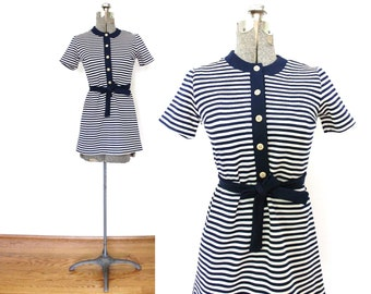 1960s Dress / 60s Mod Dress / 60s Navy Blue Striped Mini Dress