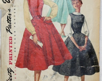 Vintage Uncut 40's Simplicity Sewing Pattern 1270  Dress, Jumper with Low Back Neckline  Size 14 Bust 32