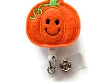 Smiling Pumpkin  - Teacher Badge Holder - Nurses Badge Holder - Felt Badge - Nursing Badge Holder - Teacher Badge Reel - RN Badge Reel