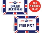 INSTANT DOWNLOAD Union Jack Party Buffet Cards - EDITABLE Printable File