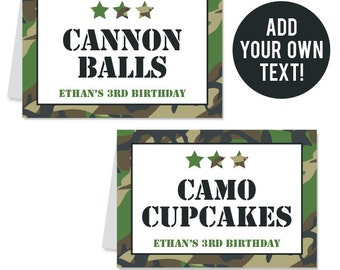 INSTANT DOWNLOAD Camo or Army Party Buffet Cards - EDITABLE Printable File