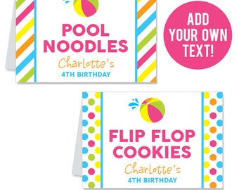 INSTANT DOWNLOAD Pink Pool or Beach Party Buffet Cards - EDITABLE Printable File