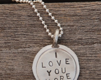 """I LOVE YOU More hand stamped Sterling silver Charm double layer on 18"""" sterling ball chain thin soldered"""
