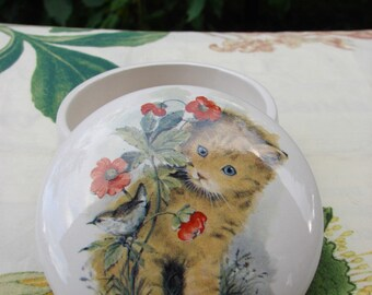 Orange Kitty and a Wren In the Poppy Patch 4 Inch Ceramic Button /Jewelry/Paperclip Box