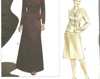 Vogue 2764 / Designer Sewing Pattern By Oscar De La Renta / Jacket Skirt Evening Suit / Sizes 6 8 10