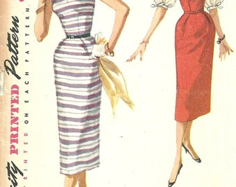 Simplicity 1085 / Vintage 50s Sewing Pattern / Dress / Size 16 Bust 34