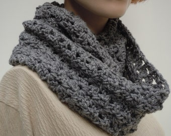 Slate Gray Cowl - Beautiful Gray Endless Scarf - Infinity Scarf - Crocheted scarf