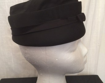 Vintage 1950s Black Satin Tall Toque Hat with Bow