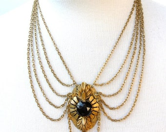 Filigree Drop- necklace with vintage upcycled brooch