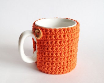 Crochet Mug Cosy With Built in Coaster in Spice Pumpkin
