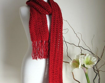 Red Christmas Scarf - Long Scarf with Fringe - Chunky - Winter Scarves
