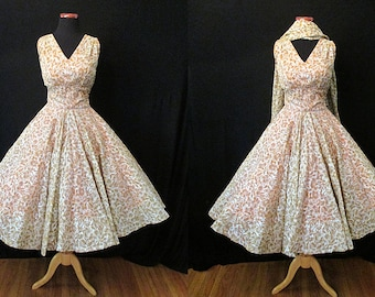 Glamorous 1950's New Look Floral Print Cocktail Summer Party Dress with Matching Shawl and Shelf Bust Rockabilly VLV Pinup Size-Medium-Large