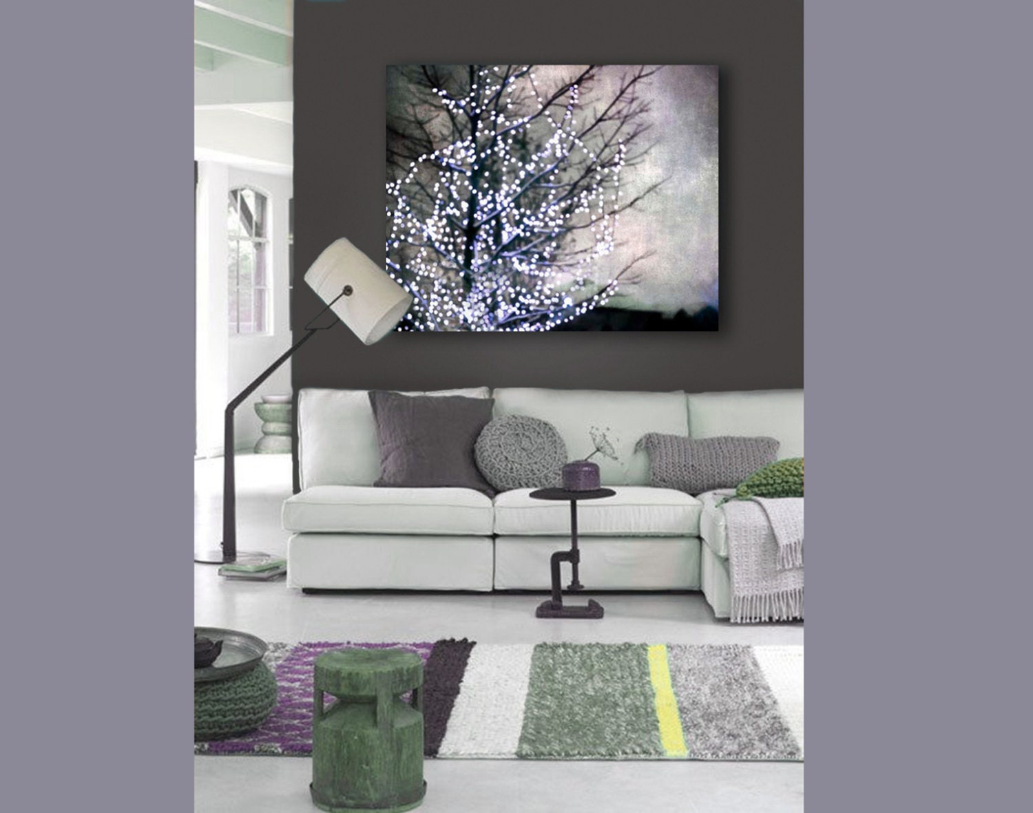 modern abstract canvas wall art purple gray holiday decor. Black Bedroom Furniture Sets. Home Design Ideas