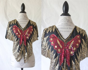 c1980's Silk Sequin Butterfly Blouse