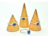 Geometric Hexagon Ring - Blue Lapis Lazuli - Sterling Silver Stacking Ring