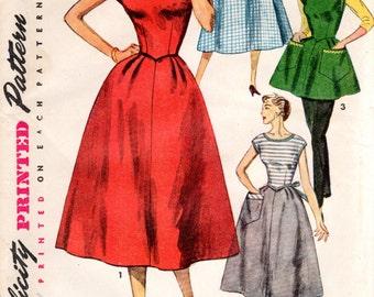 1950s Back Wrap Dress or Apron - Vintage Pattern Simplicity 4522 - B34 Swirl Style Dress UNCUT FF