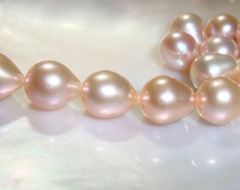 AAA Freshwater Pearls, Romantic, Elegant Light Pink Gold Peach Cream Natural Color Pearls, 9.5-10.5x8mm, J22-1 - reduced from 39.90