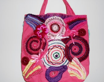 Boho pink embellished tote bag with free-form crochet circles on both sides//purse//gift for her-NEW PRICE!