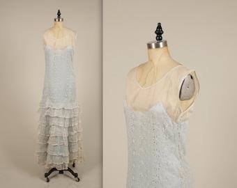1920s silk organza garden party dress • vintage 20s dress • sleeveless summer dress