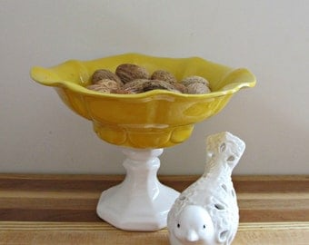 Pedestal Bowl - White Candleholder with Yellow McCoy Pottery Bowl - Vintage, Rustic Decor -Table, Jewelry, Catch All Bowl