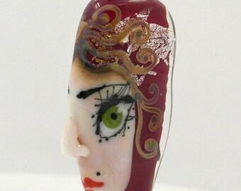 Artisan glass bead, Lampwork glass bead, handmade glass focal bead, glass focal bead, Face focal bead, Face bead, eye bead