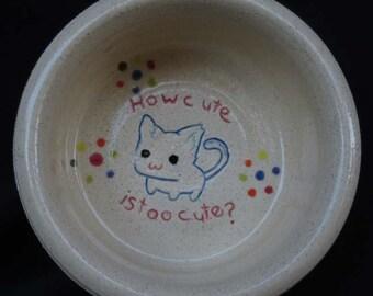 Ceramic Cat Bowl * Cat Food Bowl * Cat Water Bowl * Too Cute Kitty * White Cat Bowl * Blue Cat